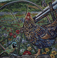 Hen And Plow Wheel by Diann Baggett