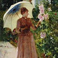 Henri Emile De Sachy France 19th Century Elegant Young Lady In The Garden Walk At Hollyhocks by Adam Asar