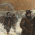 Walking Through The Snow by Henry Sandham