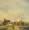 Herdsman And Herd by Eugene Joseph Verboeckhoven