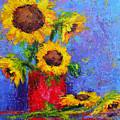 Here Comes The Sunshine Modern Impressionist Floral Still Life Palette Knife Work by Patricia Awapara
