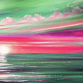 Here It Goes In Teal And Magenta Panoramic Sunset by Gina De Gorna