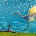 Heron Great White   Pastel   by Antonia Citrino