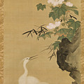 Herons And Cotton Roses by Tosa Mitsuoki