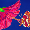 Hibiscus And Butterfly by Lucyna A M Green
