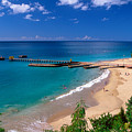 High Angle View Of A Pier On Crashboat Beach Puerto Rico. by George Oze