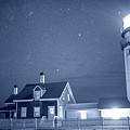 Highland Lighthouse Truro Ma Cape Cod Monochrome Blue Nights by Toby McGuire