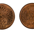 Highly Graded American Indian Head Cents On White Background  by Thomas Baker