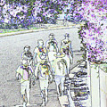Hiking Down The Street I  Painterly Glowing Edges Invert  by Linda Brody