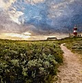 Hill Road To A Lighthouse H A by Gert J Rheeders