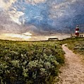 Hill Road To A Lighthouse H B by Gert J Rheeders