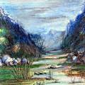 Hills Mountain And A Stream by Padamvir Singh