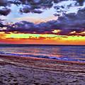 Hillsboro Beach Orange Sunset Hdr by Ken Figurski