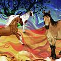 Hillside Horses by KaFra Art