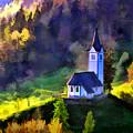 Hilltop Church In Misty Mountain Forest by Elaine Plesser