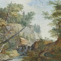 Hilly Landscape With A River And Figures In The Background by MotionAge Designs