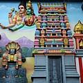 Hindu Deities On Wall Mural Of Sri Senpaga Vinayagar Tamil Temple Ceylon Rd Singapore by Imran Ahmed