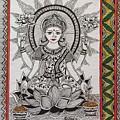 Goddess Laxmi - Madhubani  by Pushpa Sharma