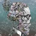 Hipster Floral Skull 2 by Bekim Art