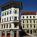 Historic Art Nouveau Buildings At Preseren Square White Tiled Ha by Reimar Gaertner