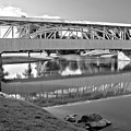 Historic Halls Mill Bridge Reflections Black And White by Adam Jewell