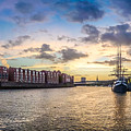 Historic Town Of Bremen With Weser River by JR Photography