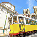 Historic Tram And Lisbon Cathedral by Benny Marty