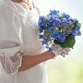 Historical Woman Holding A Bouquet Of Hydrangea  by Lee Avison