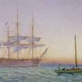 Hm Frigates At Anchor by John Joy