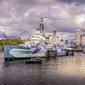 Hms Belfast And Tower Bridge by Geoff Eccles