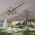 Hms Ulysses Attacked By Heinkel IIis Off North Cape by Glenn Secrest