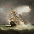H.m.s. Victory In Full Sail And In A Squall by Thomas Buttersworth