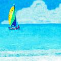 Hobie Sailing Off Lido Beach Coast by Susan Molnar