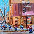 Hockey At Beautys Deli by Carole Spandau