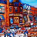 Hockey At Fairmount Bagel by Carole Spandau