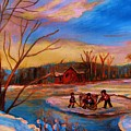 Hockey Game On Frozen Pond by Carole Spandau