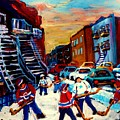 Hockey Paintings Of Montreal St Urbain Street City Scenes by Carole Spandau
