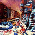 Hockey Paintings Of Montreal St Urbain Street Winterscene by Carole Spandau
