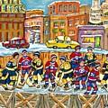 Hockey Rink Painting Boston Vs Montreal 1979 Cityscene Five Roses And Milk Bottle Skyline C Spandau by Carole Spandau