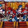 Hockey Rink Paintings New York Rangers Vs Habs Original Six Teams Hockey Winter Scene Carole Spandau by Carole Spandau