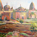 Hoeing By Hand In Orchha India by Art Nomad Sandra  Hansen