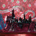 Hogwarts Starry Night In Red by Midex Planet
