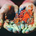 Holi Powder Held In Woman's Hand. Close-up. by Michal Bednarek