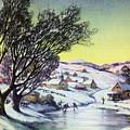 Holiday Winter Snow Scene Children Skating On Frozen Pond by R Muirhead Art