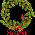 Holly Christmas Wreath And Cardinal by HH Photography of Florida