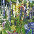 Hollyhocks, After Morisot by Michael Helfen