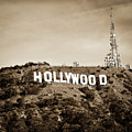 Hollywood California Sign In Sepia - Square Format by Gregory Ballos