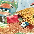 A Back Yard With A Cow Shade And A Cow And A Calf  by Makarand Joshi