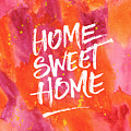 Home Sweet Home Handpainted Abstract Orange Pink Watercolor by Beverly Claire Kaiya