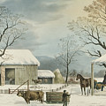 Home To Home To Thanksgiving, 1867 by Currier and Ives